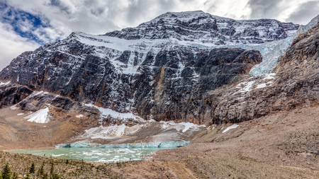 Landscape view of Mount Edith Cavell in Jasper National Park, Alberta, Canada.