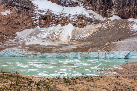 Meltwater lake of mount Edith Cavell with its little icebergs in Jasper National Park, Alberta, Canada.