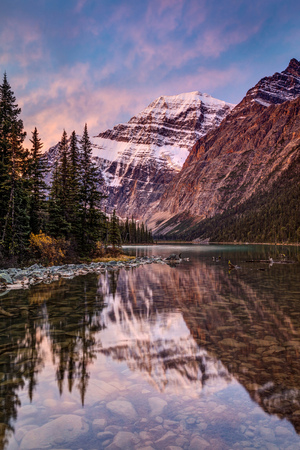 One of the Most Beautiful Mountain Scenery in the Canadian Rockies. Mount Edith Cavell reflection at sunrise in Jasper National Park, Alberta.