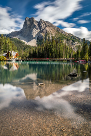 Beautiful and calm Summer day at Emerald Lake in Yoho National Park, British Columbia, Canada