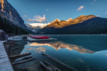 Sunrise at the Canoe Shack of the very scenic Lake Louise, Alberta, Canada