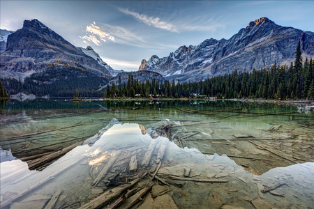 Lake OHara Mountain reflection ar Dawn in Yoho National Park, British Columbia, Canada. 版權商用圖片