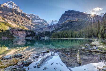 Majestic scenery at Lake OHara in Yoho National Park, British Columbia, Canada