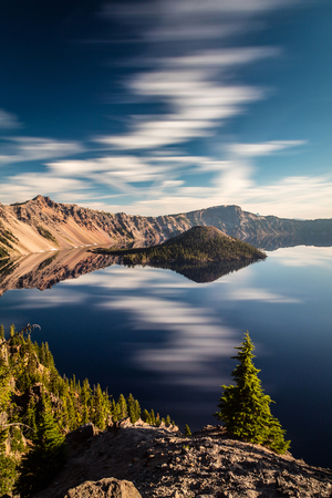 long exposure with some interesting clouds at Crater Lake national Park, Oregon. Stock Photo
