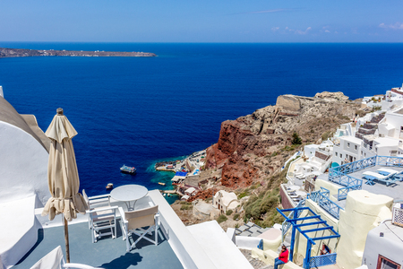 fira: View with umbrella