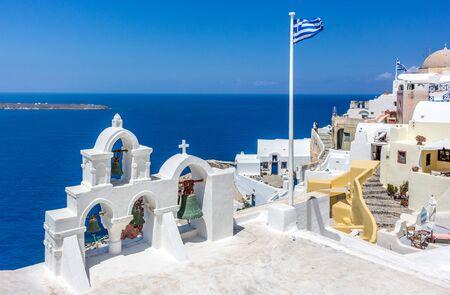 Page Sight Santorini flag belfry Stock Photo