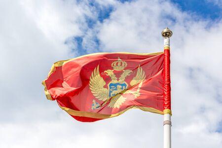 kotor: Montenegro flag Stock Photo