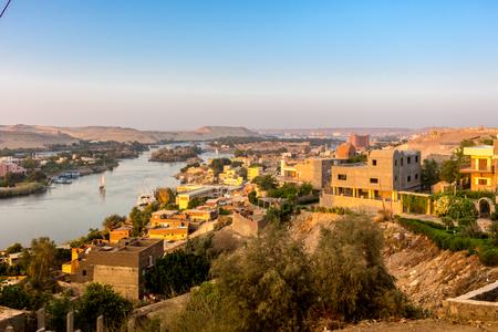 Aswan Nile Cityscape Stockfoto
