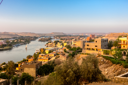 Aswan Nile Cityscape Stock Photo