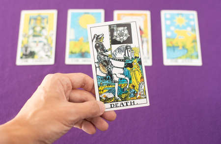 Bangkok, Thailand: May 2020. Tarot cards to predict the future in love, bad luck, injury, illness, accident, and death can be precisely predicted. Which is a personal belief. Editorial