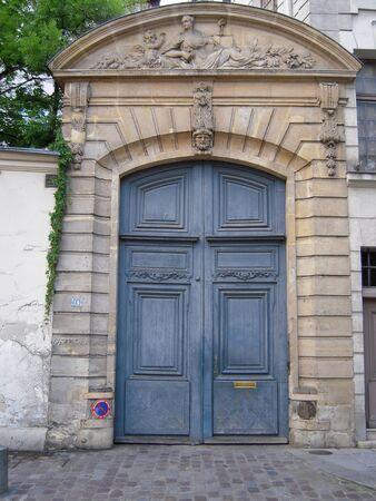 blue door: Old blue door Stock Photo