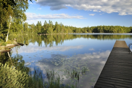 August Swedish lake landscape
