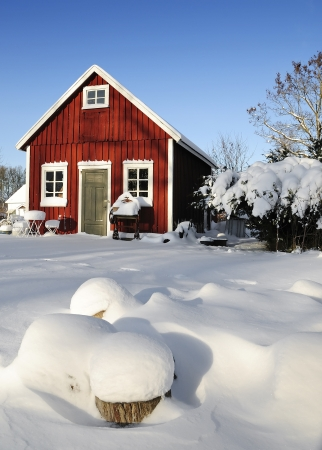 Swedish workhouse in winter season Stock Photo