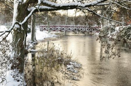 winter wallpaper: Sueco parque r�o en temporada de invierno Foto de archivo