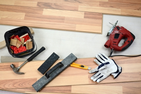 Carpenter s floor equipment  Stock Photo