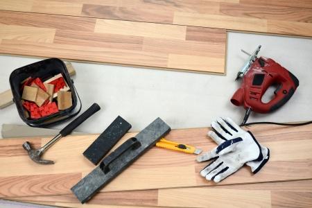 Carpenter s floor equipment  Stock Photo