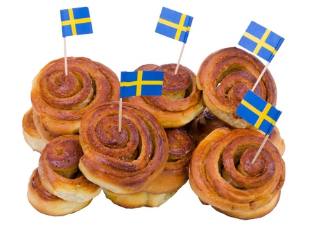 Swedish traditional cinnamon buns in stock  photo
