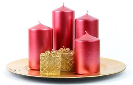 Candle plate - Christmas decoration isolated on white background  photo