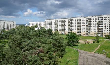 Typisch Poolse flatgebouwen in Gdansk stad Stockfoto