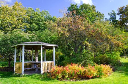 Wooden arbor in apple orchard  Stock Photo