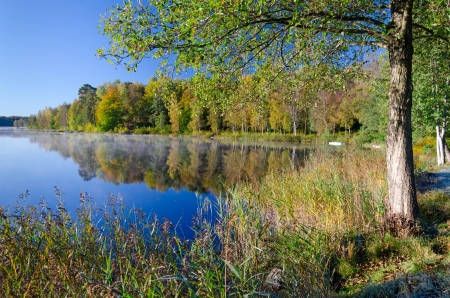 early fog: Beautiful Swedish lake landscape in autumn colors  Stock Photo