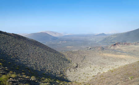 Beautiful Lanzarote panorama landscape with volcano hills photo