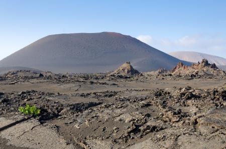 Landschap na vulkaanuitbarsting Stockfoto