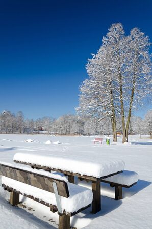 Wooden benches covered by snow Stock Photo - 18595847