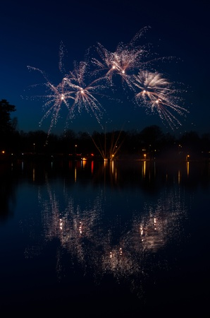Fireworks over the lake photo