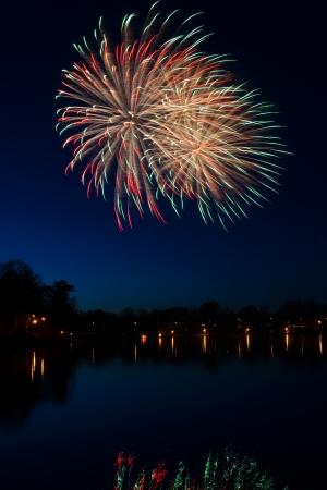 Swedish fireworks in vertical landscape