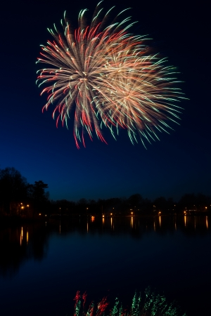 Swedish fireworks in vertical landscape photo