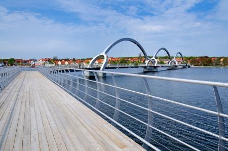 longest: Europe s longest pedestrian and cycling bridge in Solvesborg Stock Photo