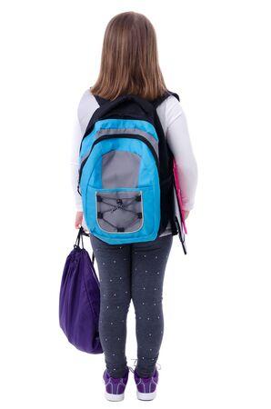 school backpack: Young schoolgirl from behind  Stock Photo