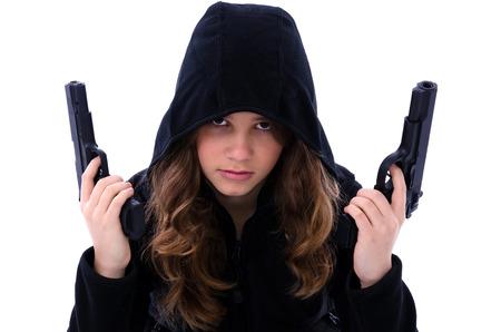 mujer con arma: Assassin retrato de la muchacha