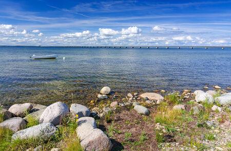 oland: Oland island coast with moored rowboat