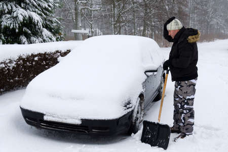 anomalies: Man need to remove snow from the car, again