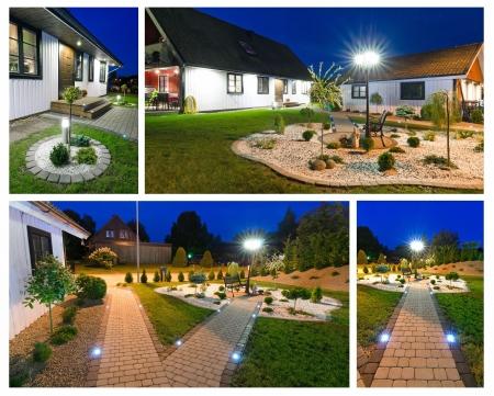 paredes exteriores: Villa moderna en la noche-collage Foto de archivo