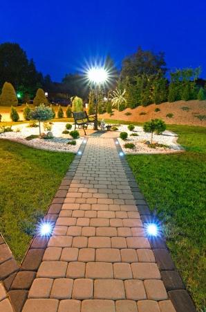 Night view of modern garden Stock Photo