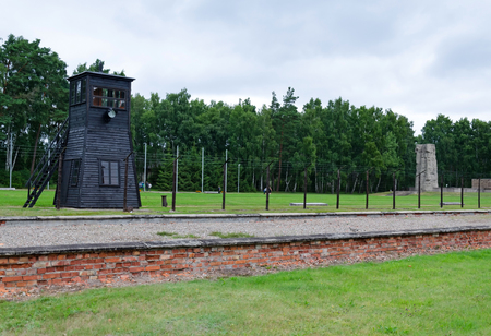 barrack: Barrack ruins and border tower in concentration camp Stutthof