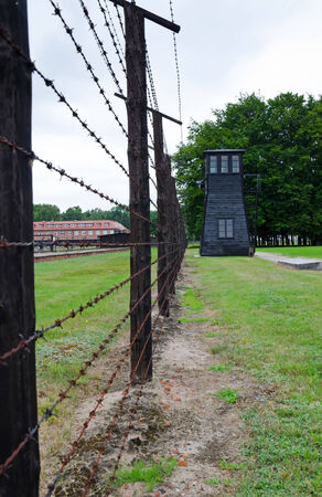 Camp fence and guard tower in Stutthof- present time photo