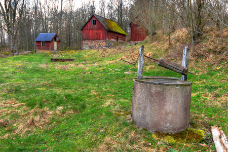Old Swedish farm in spring season photo