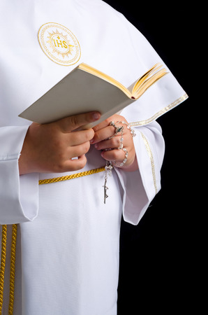 prying: First communion composition Stock Photo