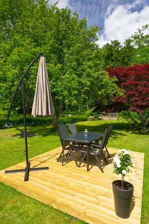 Modern place for garden furniture photo