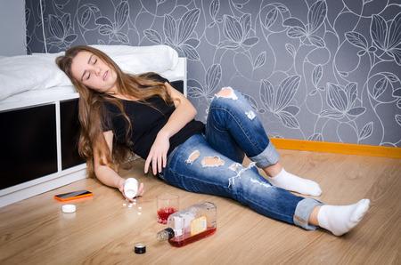 drunk girl: Unconscious depressed girl