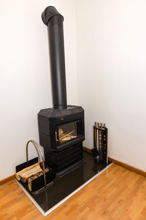 Small fireplace in villa Stock Photo