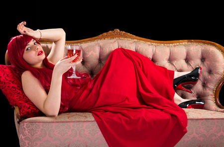 Red lady with wine photo