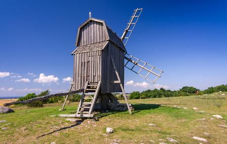 swedish: Traditional Swedish old windmill on Oland island