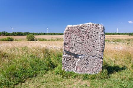 oland: Rune stone on Oland island Stock Photo