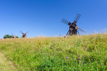 oland: Group of historical windmills on Oland island