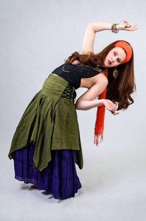 gypsy: Flexible gypsy girl Stock Photo